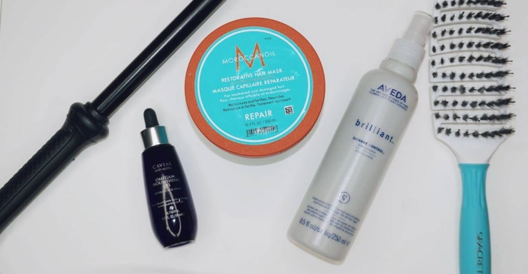 Alterna Caviar Anti-Aging Omega+Nourishing Oil, Morrocanoil Intense Hydrating Mask, Aveda brilliant Damage Control