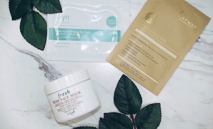 Skyn Iceland Hydro Cool Firming Eye Gels, Fresh Rose Face Mask, KARUNA Hydrating+Face mask